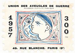 """FRANCE - Grande Vignette """"Union Des Aveugles De Guerre - Le Livre Parlé - 1957"""" Par Jean COCTEAU - 300 Frs - Autres"""