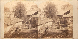 Stéréo Du Crêt De La Neige à Lélex / Thoiry, Monts Jura, Vue Du Village Animé, Cachet Van Genechten à Bruxelles, Ca 1875 - Stereoscopio