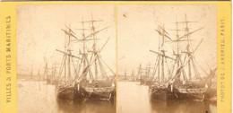 Stéréo De Jean Andrieu, Série Des Villes Et Ports Maritimes (1862-63), Bassin De La Barre Au Hâvre, Voiliers à Quai - Stereoscoop