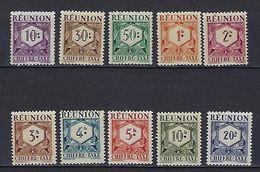 "Reunion Taxe YT 26 à 35 "" Serie Complète "" 1947 Neuf* - Portomarken"