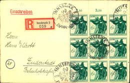 1944, 6 Pfg. Landesschiessen Im 9-er-Block Vom OR Auf R-Brief 2. Gewicht Mit SST INNSBRUCK - Cartas