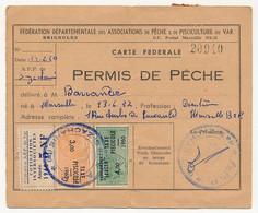 FRANCE - Carte Fédérale Permis De Pêche VAR 1960 - Fiscaux Taxe Piscicole Ordinaire + Supplément Lancer + Cotisation... - Revenue Stamps