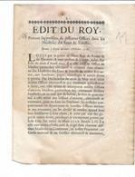 EDIT DU ROY 1716: Suppression De Différents Offices Dans Les Maitrises Des EAUX ET FORETS - Gesetze & Erlasse