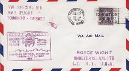 Canada Special Air Mail Flight TORONTO (Ont.) - QUEBEC 1928 Cover Lettre - Primeros Vuelos