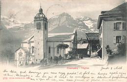 Suisse Champery Eglise Cpa + Timbre Cachet 1901 - VS Valais