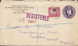 United States Registered Postal Stationery Ganzsache PRIVATE Print CALIFORNIA PACKING CORP. SAN JOSE 1932 PARKSTONE, GB - 1921-40