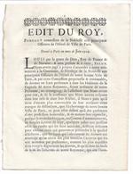 EDIT DU ROY 1716: Concession De La Noblesse Aux Principaux Officiers De L'Hôtel De Ville De Paris - Decretos & Leyes