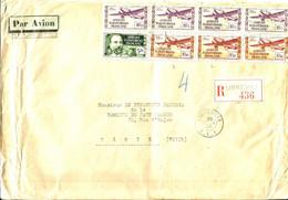 REC.de LIBREVILLE Via Aéromaritime - P.A.N° 8 X4--N° 7X3+N°60 (Forte Cote)  - 1938 - - Covers & Documents
