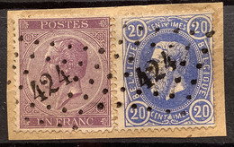 Leopold I In Profiel 1 Franc Lila + OBP 31 Op Fragment LP424 BRUXELLES LUXEMBOURG - 1865-1866 Profiel Links