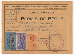 FRANCE - Carte Fédérale Permis De Pêche VAR 1955 - Fiscaux Taxe Piscicole Ordinaire + Supplément Lancer + Cotisation - Revenue Stamps