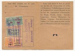 FRANCE - Carte De Pêche L'HAMEÇON Aubenas Ardèche 1952 - Fiscaux Taxe Piscicole Ordinaire + Supplément Lancer + Contrôle - Revenue Stamps