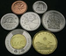 CANADA SERIE 7 MONETE 2007-2018 1-5-10-25-50 CENT  1-E 2 DOLLARI BIMETALLICA FDC UNC - Canada