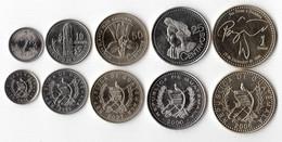 GUATEMALA SERIE 5 MONETE 1 QUETZAL +  50-25-10-5  CENTAVOS - Guatemala