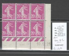 France - Yvert 190** - Semeuse 20 Cts Lilas Rose -  SANS LE C Dans Un Bloc De 6 - Variétés: 1900-20 Neufs