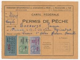 FRANCE - Carte Fédérale Permis De Pêche VAR 1954 - Fiscaux Taxe Piscicole Ordinaire + Supplément Lancer + Cotisation - Revenue Stamps