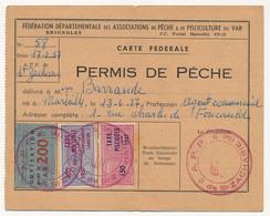 FRANCE - Carte Fédérale Permis De Pêche VAR 1957 - Fiscaux Taxe Piscicole Ordinaire + Supplément Lancer + Cotisation - Revenue Stamps