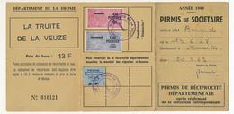 FRANCE - Carte De Pêche Département De La Drôme - 1969 - Taxe Piscicole + Supplément + Locale Réciprocité - Revenue Stamps