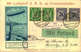 1924, Mit Luftschiff Z.R.III Nach Nordamerika, Dekorative Karte - Zeppelin