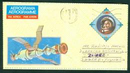 Cuba 1989 Aerogram Gagarin Cosmos Satellite 1986 RADIVOJE - Cartas