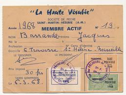 FRANCE - Carte De Pêche Saint Martin De Vésubie (A-M) - Fiscaux Taxe Piscicole + Supplément + Fédéral - Revenue Stamps