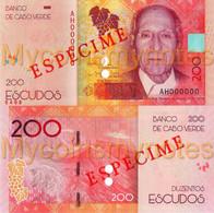 CAPE VERDE 200 Escudos From 2021,SPECIMEN, PNEW, Paper, UNC - Cap Vert
