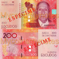 CAPE VERDE 200 Escudos From 2021,SPECIMEN, PNEW, Paper, UNC - Cabo Verde