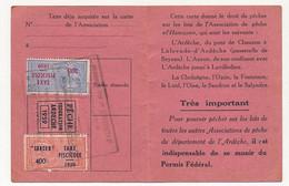 FRANCE - Carte De Pêche L'HAMEÇON Aubenas Ardèche 1959 - Fiscaux Taxe Piscicole Ordinaire + Supplément Lancer + Locale - Revenue Stamps