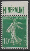 Semeuse Camée 10c. Maigre - Pub Minéraline - Signée Calves - état B - 1906-38 Sower - Cameo