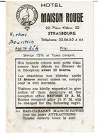 STRASBOURG ( 67 )  -   HÔTEL MAISON ROUGE  Dépliant Publicitaire  - - Advertising