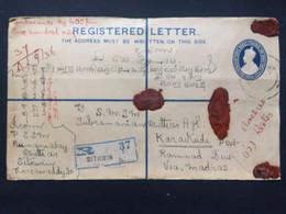 INDIA 1936 George V Registered Sitkwin Burma Cover To Karaikudi - 2 Scans - Stamps To Rear - 1911-35 King George V