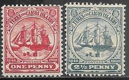 Turks & Caicos Islands  1900  Sc#2 & 1904 #4 Ships MH  2016 Scott Value $6 - Turks And Caicos