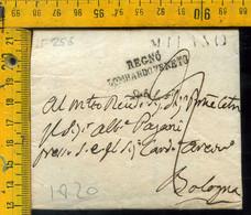 Piego Con Testo Milano Regno Lombardo Veneto Per Bologna - 1. ...-1850 Prephilately