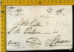 Piego Con Testo Sarnico Bergamo Per Chiari Brescia - 1. ...-1850 Vorphilatelie