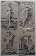 Style Art Nouveau - Les 4 Saisons - Scultochromie Signée Siamboldi - Ensemble De 4 CPA 1904 - Voir état - Other Illustrators