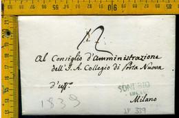 Piego Con Testo Sondrio Per Milano - 1. ...-1850 Prephilately