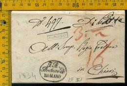 Piego Con Testo Romano Di Lombardia Bergamo Per Chiari Brescia - 1. ...-1850 Vorphilatelie