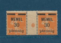 Semeuse Camée, Memel N°21, Paire Millésime 0 - Unused Stamps