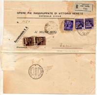 1945 LETTERA RACCOMANDATA CON ANNULLO  TREVISO + TARZO - Marcofilía