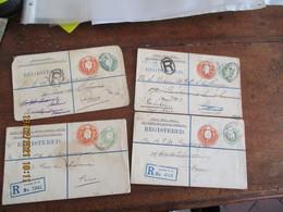 Lot De 4 Entier Postal Stationnery Card  Four Penny Et  Half Penny Registered Nourse Mines London Pour Paris - Material Postal
