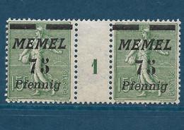 Semeuse Lignée, Memel N°66, Paire Millésime 1 - Unused Stamps