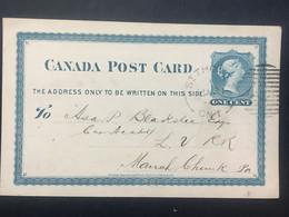 CANADA 1880 Pre-paid Victoria Postcard `Canada Southern Railway Line` St. Thomas Ont.to Philadelphia - 2 Scans - Briefe U. Dokumente