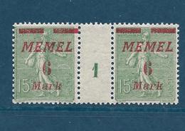 Semeuse Lignée, Memel N°87, Paire Millésime 1 - Unused Stamps