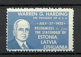 Baltics Estland Estonia Latvia Lithuania In Exile Presient Harding Anti Communist Vignette Poster Stamp MNH - Cinderellas