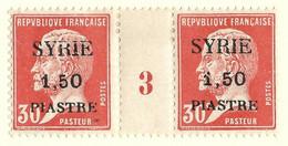 Pasteur, Syrie N°120, Paire Millésime 3 - Unused Stamps