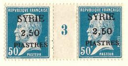 Pasteur, Syrie N°121, Paire Millésime 3 - Unused Stamps