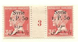 Pasteur, Syrie N°145, Paire Millésime 3 - Unused Stamps