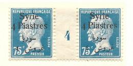 Pasteur, Syrie N°148, Paire Millésime 4 - Unused Stamps