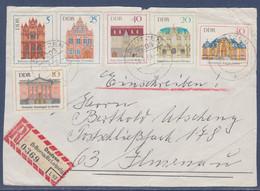 Série 6 Timbres Monuments Divers, Deutzen 28.2.69 Devant D'enveloppe Recommandé - Covers & Documents