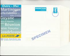 Z1 - P.A.P. Outre Mer (23X16 Cms) Marianne De Briat Spécimen - Réunion - Martinique - PAP : Altri (1995-...)