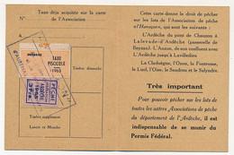 FRANCE - Carte De Pêche L'HAMEÇON Aubenas Ardèche 1965 - Fiscal Taxe Piscicole Ordinaire + Vignette Locale - Revenue Stamps